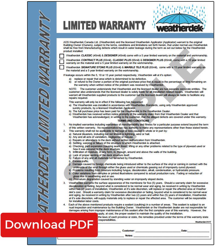 Outdoor Vinyl Flooring Product Warranty Weatherdek